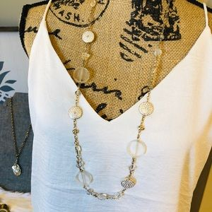 """17 1/2"""" Silver/Cream and Clear Stone Necklace"""